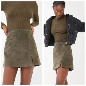 NWT Blank NYC Olive Herb Suede Skirt